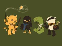 Baby Harry Potter house Mascots! I actually have this shirt!!! Would be better with an eagle instead of raven, tho...