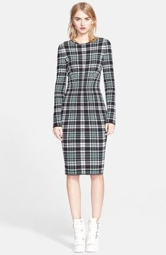 Alexander McQueen Long Sleeve Plaid Sheath Dress available at #Nordstrom