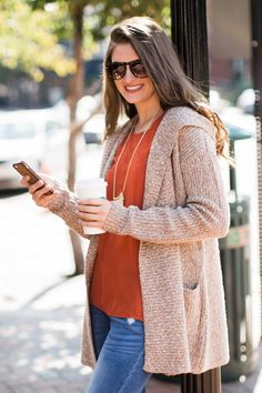 Good In The Hoodie Oatmeal Cardigan at reddressboutique.com