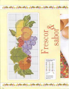 Gallery.ru / Фото #45 - Ponto cruz & crochê Nº50 - Chispitas Cross Stitch Fruit, 257, Stitch Patterns, Knitting, Color, Towels, Kitchen, Cross Stitch Borders, Cross Stitch Rose