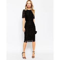 ASOS Lace Crop Top Midi Pencil Dress ($77) ❤ liked on Polyvore featuring dresses, black, pencil cocktail dress, zipper dress, lace dress, asos dresses and lace cocktail dress