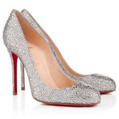 955257b41c9 2012 Sexy Christian Louboutin Fifi Crystal Strass Suede Burma 100mm Red  Bottom Pumps Silver