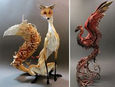 """Natural history surrealist sculpture """" this is how artist Ellen Jewett describes her sculptures. It's a blend of plants, animals and sometimes human-made structures or objects Ellen Jewett, Flora Und Fauna, Paperclay, Sculpture Clay, Animal Sculptures, Magical Creatures, Stop Motion, Illustrations, Art Plastique"""