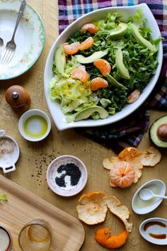 Kale, Avocado, Tangerine, and Sesame Salad