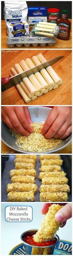 Keep the sauce away from your boards and bits but these Baked Mozzarella Cheese Sticks Recipe is perfect for a finger food game night snack! Think Food, I Love Food, Good Food, Yummy Food, Delicious Recipes, Cheese Sticks Recipe, Mozzarella Cheese Sticks, Mozza Sticks, Gastronomia