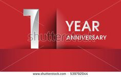 one Years Anniversary celebration logo, flat design isolated on red background, vector elements for banner, invitation card and birthday party.