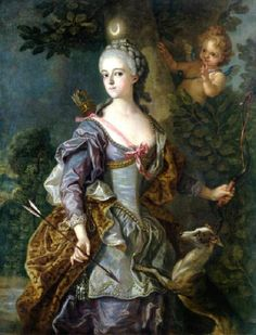 1765 Carle or Charles-André van Loo (French painter, 1705-1765) Luise Henriette Wilhelmine von Anhalt-Dessau as Diana.  She has a dog, a bow & quiver, & a crescent moon in her hair.