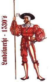 """A typical landsknecht pikeman. After the fall of Charles the Bold of Burgundy at the hands of the Swiss, the Holy Roman Empire took notice of the latter's methods. Maximillian I melded mercenaries into a mainly Germanic version of the Swiss into """"servants of the country"""" or """"landsknechts"""".  These formations broke the Swiss monopoly on reliable infantry, and this lead to intense enmity between the two.   Osprey Publishing/Gerry Embleton."""
