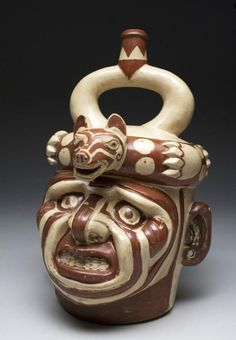 Important Moche I Kaolin Stirrup Vessel