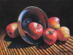 "Bowl Of Apples by Marie Tippets Pastel ~ 9"" x 12"""