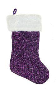 Embroidered Gold Star Purple Velvet Christmas Stocking | Purple ...