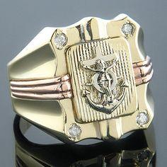 Anchor Nautical Jewelry 14K Gold Mens Diamond Ring 0.10