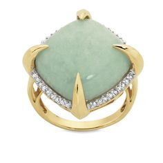 9ct Yellow Gold 0.17ct Diamond Set Jade Dome Ring || 9201066 Crystal Jewelry, Jade, Spirit, Jewellery, Crystals, Mirror, Yellow, Diamond, Rings