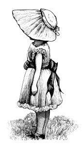 Victorian girl, vintage sunbonnet clipart, black and white clip art, Victorian child illustration, girl dress bonnet image