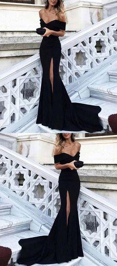 mermaid prom dress,black prom dress,mermaid evening dress,off the shoulder prom dress by MeetBeauty, $126.99 USD