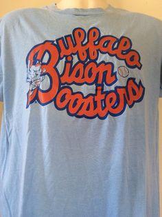 Vtg 80s Buffalo Bisons T-Shirt Blue L XL Thin 50 50 Screen Stars Minor  League Baseball 67d0a7d9c