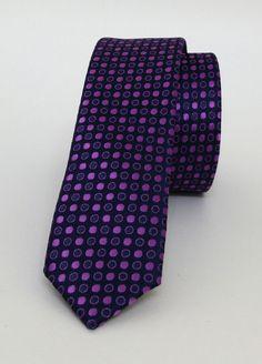 Purple and Dark Blue Dotted Mens Tie 4 cm (1,57 #handmadeatamazon #nazodesign