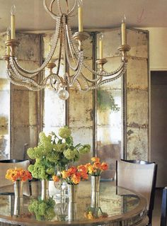 distressed mirror room dividers from Haus Design: Antiqued Mirrors: Beautiful Decorating Ideas