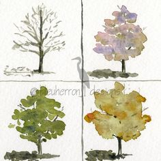 four seasons painting- A Tree's Clothes- watercolor print