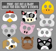 Farm Yard Animal Mask Printables, 10 PDF Printables This listing includes 10 easy to cut out animal masks. Each Animal mask is around 10x7 and can be printed on Standard Letter Pages (also on A4). Just purchase the digital file to print and cut out at home. --------------------------------------------------------------------------------------------------- - - - LISTING INCLUDES - - - 1. 10 x Masks 1 PDF document for easy printing. This listing is for a digital file(s) of design shown only...