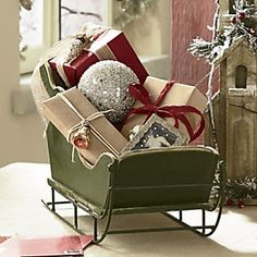 Big christmas silver metal sled sleigh primitive french for Ornamental centrepiece for a dining table