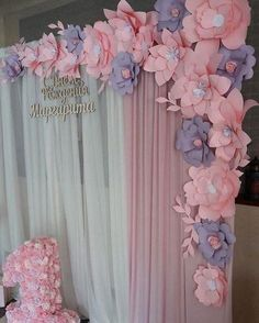Discover thousands of images about Paper Flowers Baby Shower Themes, Baby Shower Decorations, Flower Decorations, Paper Flower Wall, Paper Flower Backdrop, Giant Paper Flowers, Diy Flowers, Birthday Decorations, Wedding Decorations