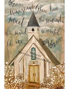 Church Art Print with words Amazing Grace Cotton field Painting Words, Diy Painting, Painting On Wood, Watercolor Paintings, Scripture Painting, Painting Canvas, Watercolors, Farmhouse Paintings, Easy Canvas Art