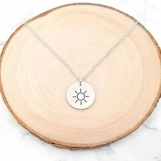 Sun Necklace Disc Necklace, Engraved Necklace, Moon Necklace, Sun Outline, Rose Gold Chain, Everyday Necklace, Or Rose, Gift Guide, Lovers