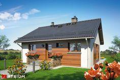 Mały energooszczędny dom parterowy tani w budowie. Ronaldo, Atrium, Studio, Gazebo, House Plans, Outdoor Structures, House Styles, Outdoor Decor, Home Decor