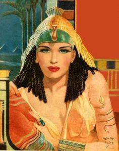 Cleopatra w Green Eyes Henry Clive Rolf Armstrong, Frederic Remington, Egyptian Queen, Egyptian Art, Egyptian Makeup, Egyptian Mythology, Egyptian Goddess, Gil Elvgren, Norman Rockwell