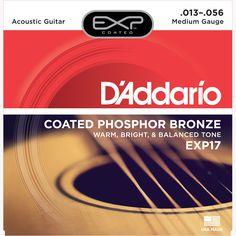 D'Addario EXP17 Coated Phosphor Bronze Acoustic Guitar Strings, Medium, 13-56