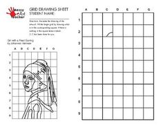 5 Pack Famous Art/Painting Grid Drawing Sheets for Middle/High School Easy Art Lessons, Drawing Lessons, High School Art, Middle School Art, Drawing Sheet, Drawing Grid, Famous Art Paintings, Modulo 2, Graphic Design Lessons
