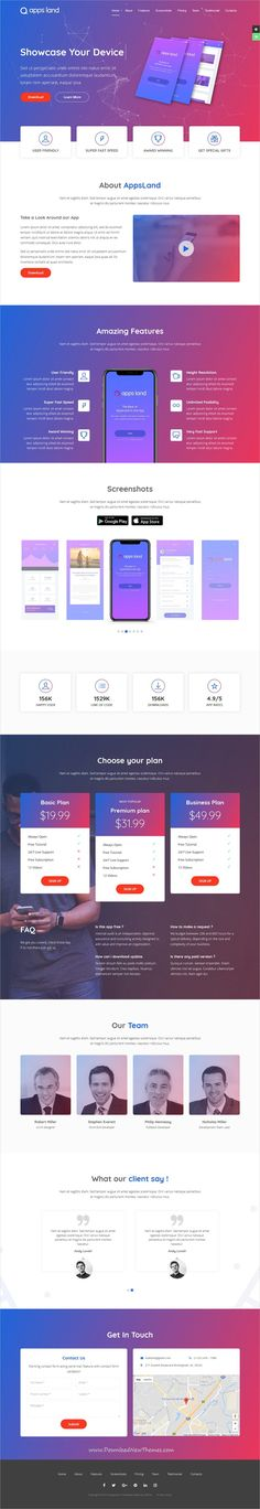 AppsLand is clean and modern design 3in1 responsive #bootstrap HTML template for #app landing page website to live preview & download click on Visit  #webdesign