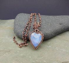 Rainbow Moonstone Pendant Statement Necklace Gemstone