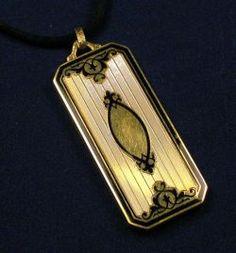 Art Deco 14kt Gold and Enamel Pendant Locket