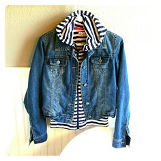 Denim Jacket with Vest Insert Selling a So Denim Jacket with light Vest Insert. This Jacket is comfortable and stylish, it is medium in size and ready for wear! Jackets & Coats Jean Jackets