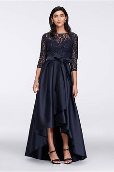 Navy Lace Bodice High-Low Ball Gown Mother of the Bride dress from David s  Bridal f1e44a4386b9