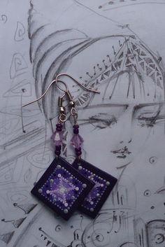 Wooden earrings with hand-painted...Ar-Mari Rubenian