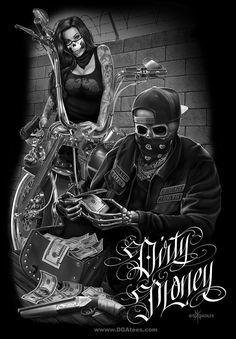 ride or die dga tees arte skull Motorcycle Art, Bike Art, Chicano Tattoos, Body Art Tattoos, Dark Art Tattoo, Arte Lowrider, Aztecas Art, Cholo Art, Gangster