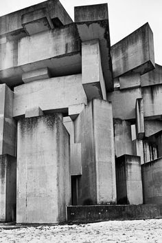 Visions of an Industrial Age // Wien, from the series Shaping Stones, by Aglaia Konrad, 2014 Brutalist Design, Brutalist Buildings, Concrete Architecture, Interior Architecture, Minecraft Architecture, Concrete Facade, Concrete Design, Modernisme, Concrete Structure