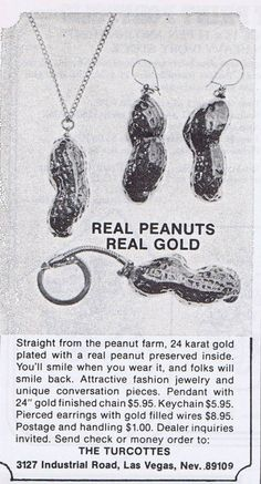 Real Peanut Real Gold Jewelry, 1976 - Vintage Bling