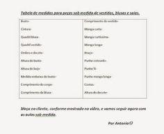Modelagem por Antonia: COMO TIRAR MEDIDAS