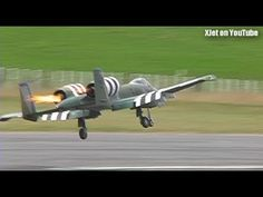 A-10 Warthog catches fire on takeoff (huge RC model plane)