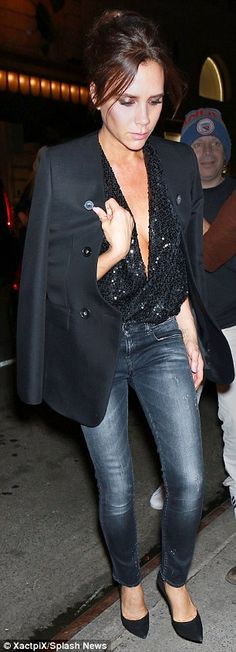 Victoria Beckham flashes the flesh in VERY low-cut sequined top on a night out | Daily Mail Online