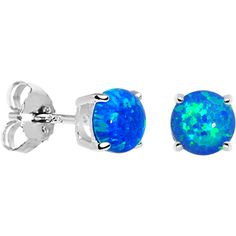 6mm Blue Round Sterling Silver Synthetic Opal Stud Earrings #bodycandy blue #opal #earrings #bodycandyloves
