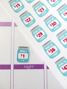 [NEW SMALLER SIZE] One 6 x 8 sheet of 52 (+ a bonus Challenge Complete) week savings challenge planner stickers cut and ready for use in your Erin