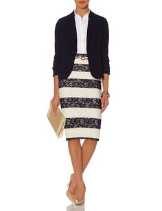 Bold stripes tone down elegant lace with weekday wearability.