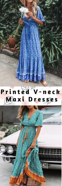 Printed V-neck Maxi Dresses - Source by anetalolko - Casual Summer Outfits, Casual Dresses, Maxi Dresses, Fall Outfits, Banquet Dresses, Boho Fashion, Fashion Outfits, Karen, Types Of Dresses