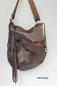 Brown color distressed leather star hobo few tones bag fringe