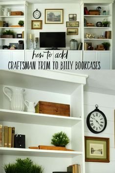Billy Bookcase system on a wall with a tv in the middle and farmhouse style deco. - Home Decor -DIY - IKEA- Before After Tv Stand Bookshelf, Ikea Billy Bookcase, Built In Bookcase, Wall Shelves, Shelving, Custom Bookshelves, Bookshelf Diy, Office Bookshelves, Book Shelves